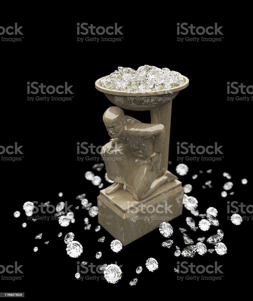 lot of diamonds and marble statuette made in 3D royalty-free stock photo