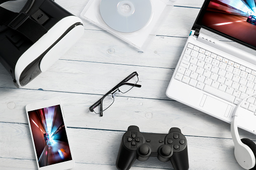 istock Lot of different kind of gaming accessories. 621837540
