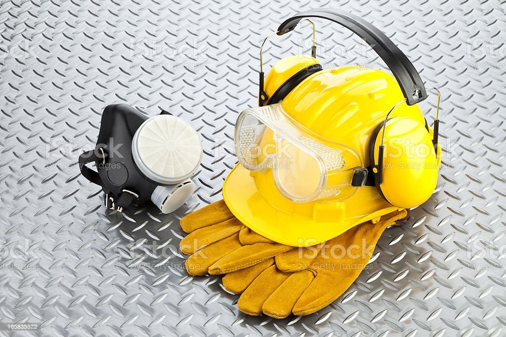 A lot of gear that a safety worker would normally use  stock photo