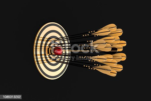 lot of golden arrows hit the golden target close to the center and one of them pierces a red apple on a black background