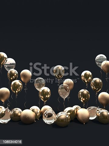 istock A lot of golden balloons on a black background. Matte, glossy and transparent balloons. 1085344016