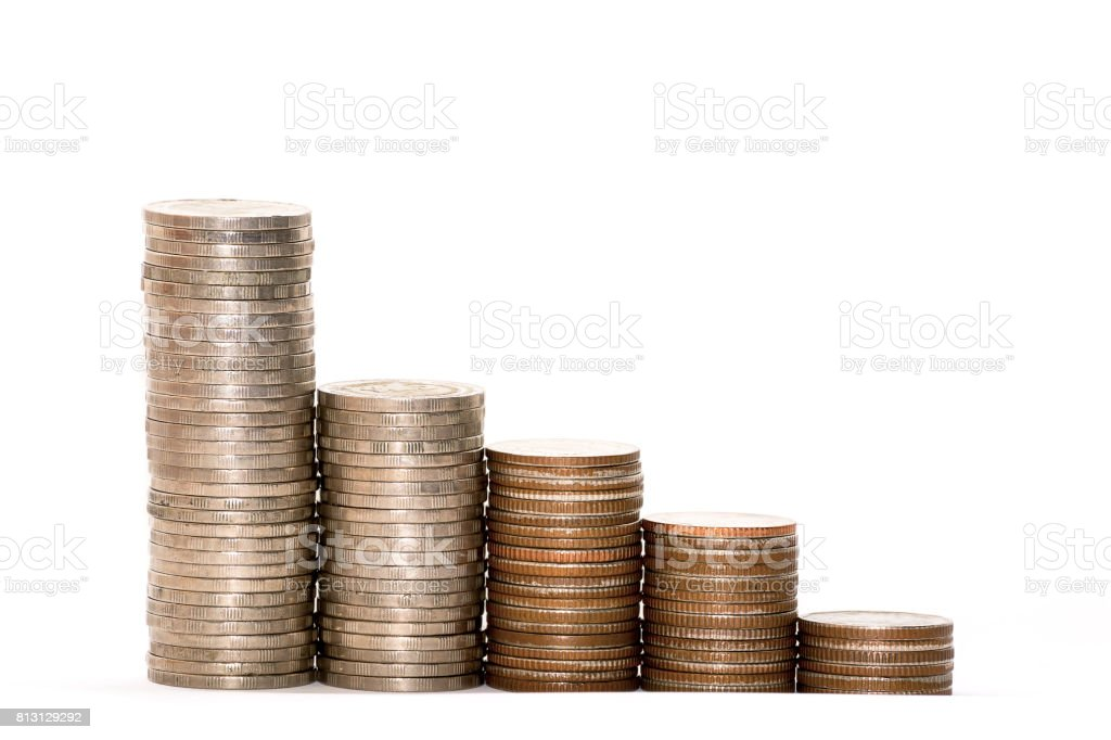 lot of golden coins on white background stock photo