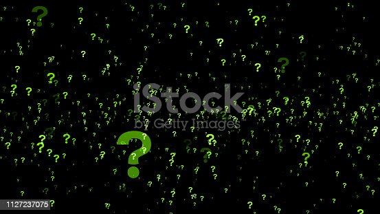 istock A lot of green question marks on a black background. 3D Rendering. 1127237075
