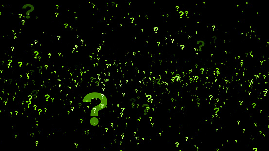 A Lot Of Green Question Marks On A Black Background 3d Rendering Stock Photo - Download Image