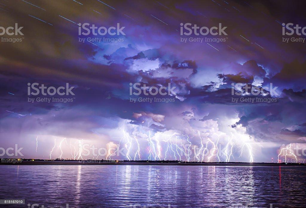 lot of lightning stock photo