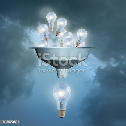 istock A lot of little ideas flow through the funnel against the sky. 825620824