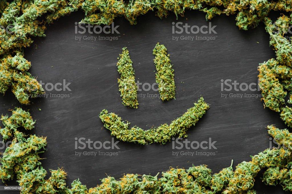A lot of marijuana Smile, fresh buds of cannabis many weed. Copy spase Copy-space zbiór zdjęć royalty-free