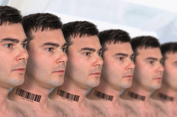 A lot of men in a row with barcode - genetic clone concept stock photo
