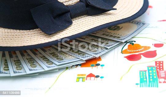 Lot of money under the straw panama hat