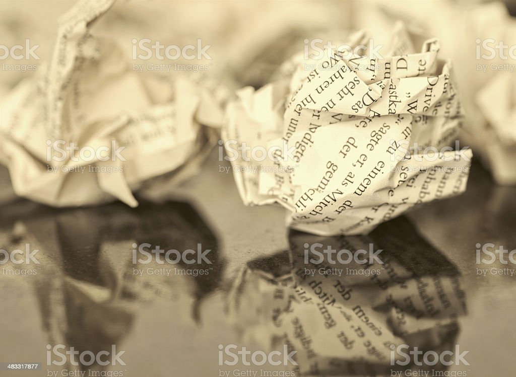 Lot of paperballs trash stock photo