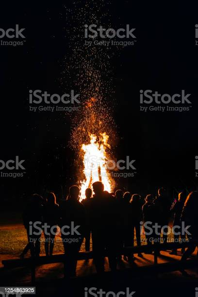 Photo of A lot of people have a night fire in the summer vertical