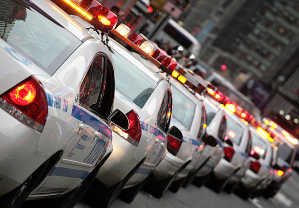 A lot of police cars stuck in traffic stock photo