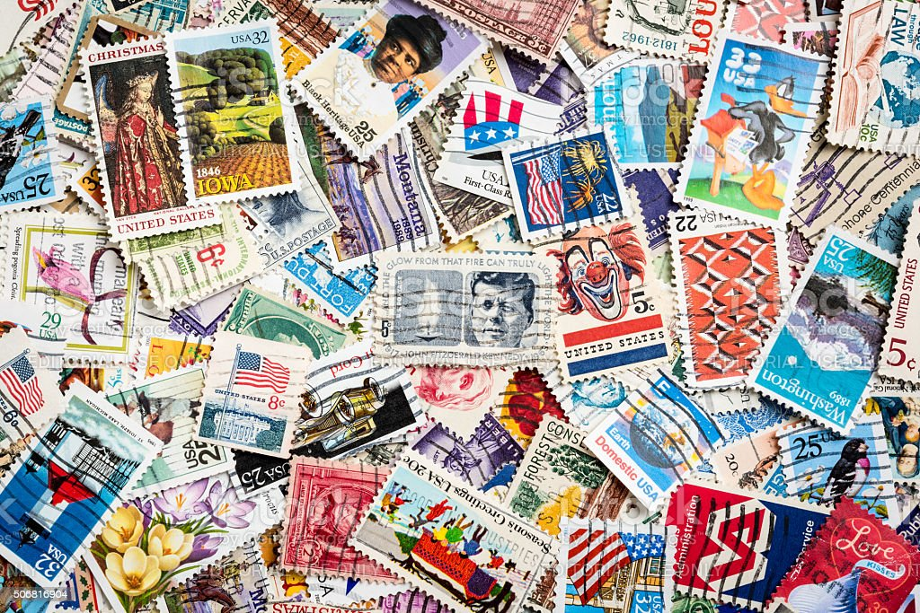 Lot of US Stamps stock photo