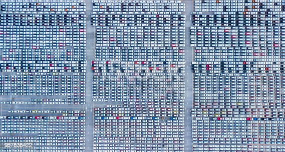istock Lot of vehicles on parking for new car, Aerial view 957838422