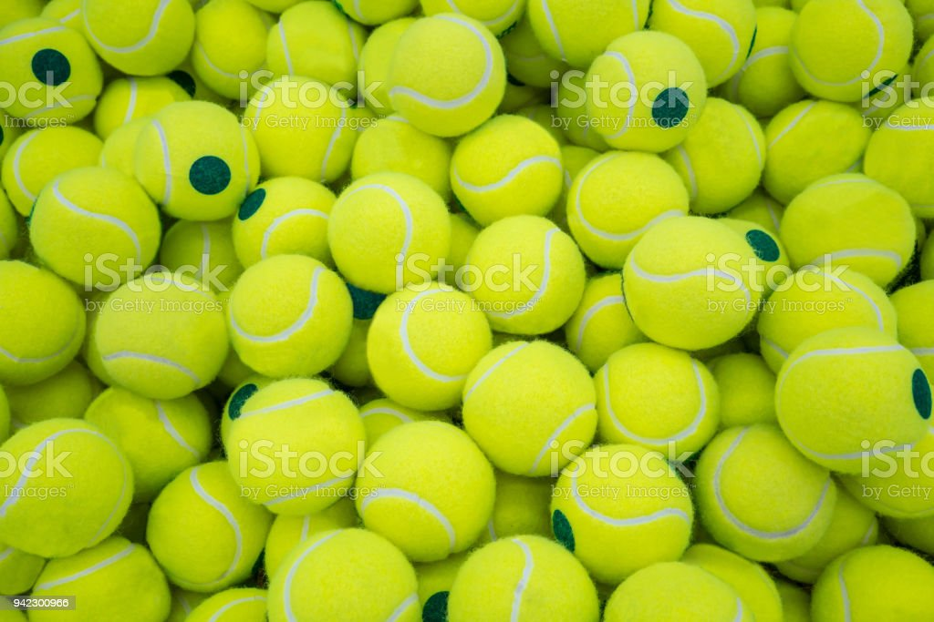 Lot of virant tennis balls for sport background stock photo