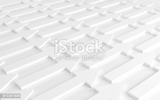 istock A lot of white arrows laying down on white background. 3d render 915267506