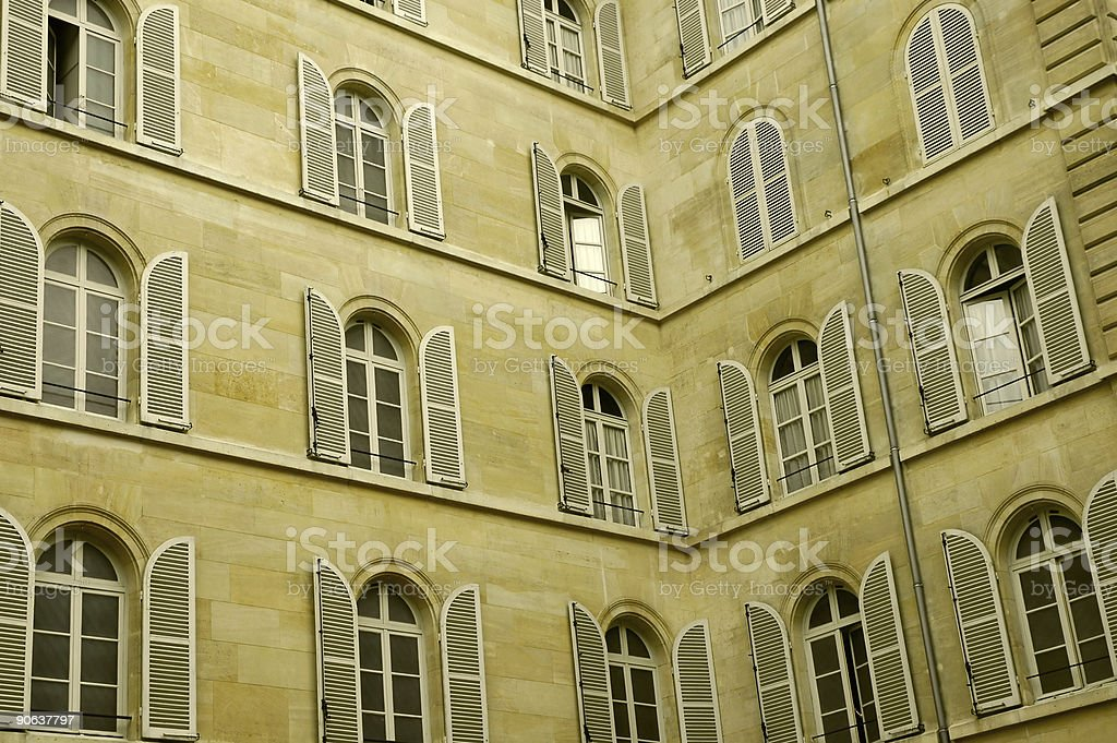 Lot of windows on two walls royalty-free stock photo
