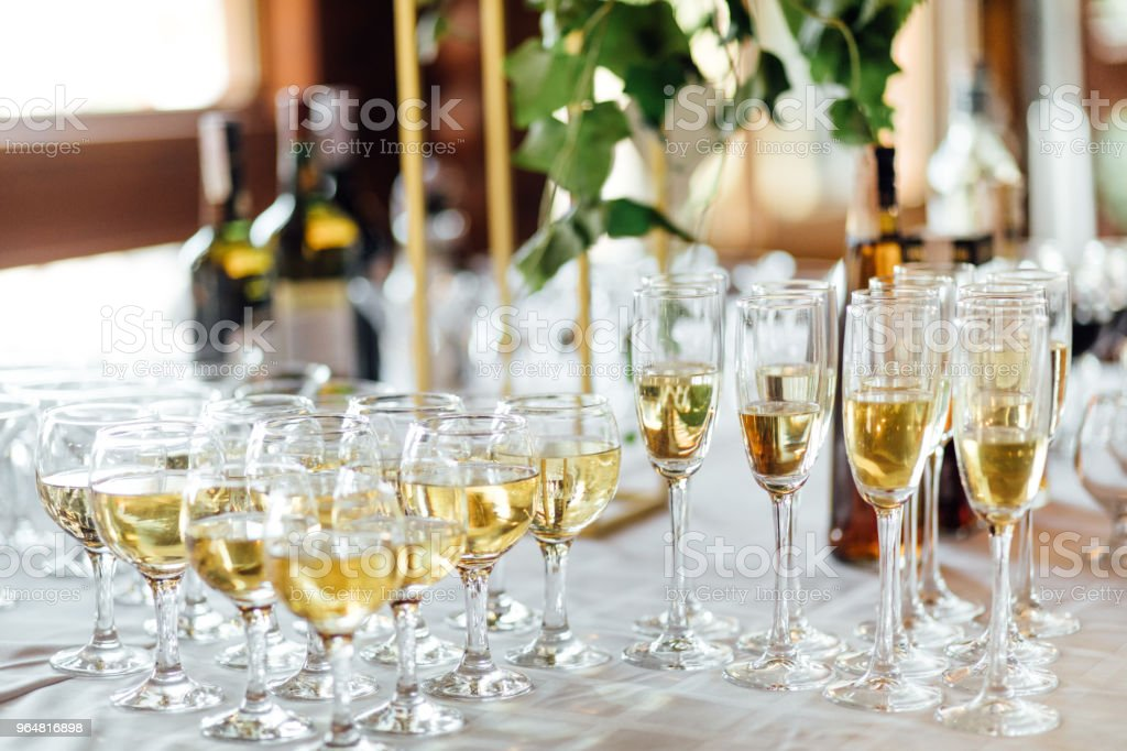 A lot of wine glasses with a cool delicious champagne or white wine at the bar. Alcohol background. royalty-free stock photo