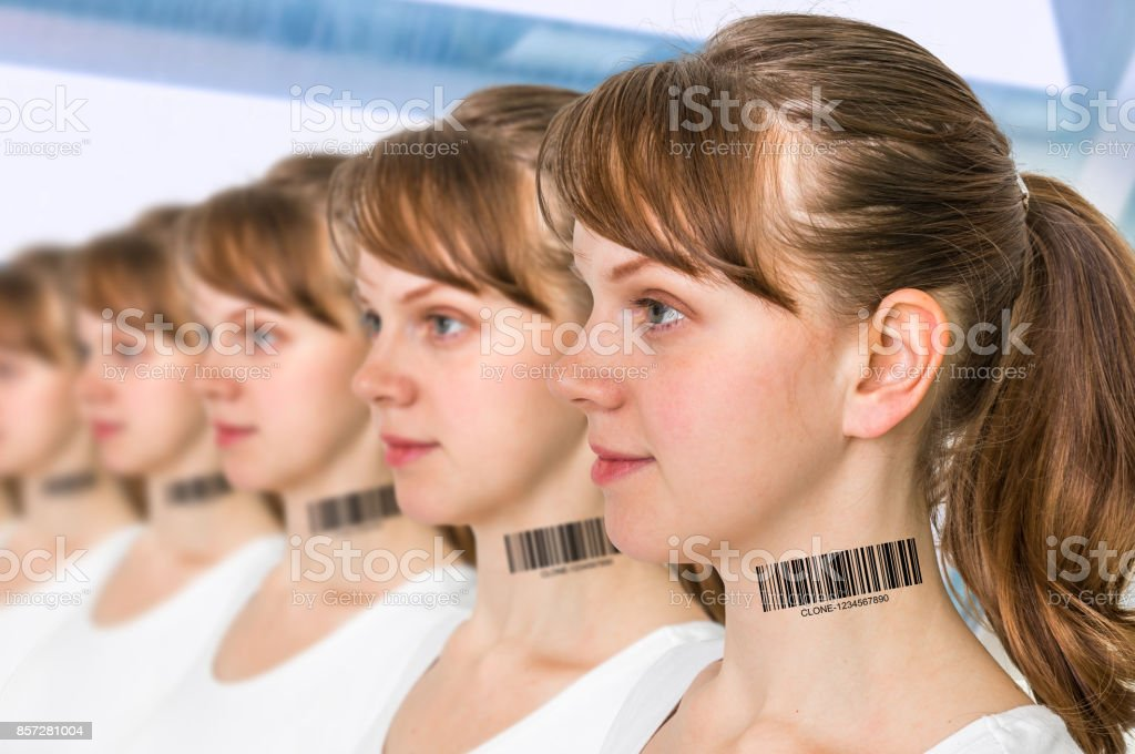 A lot of women in a row with barcode - genetic clone concept stock photo