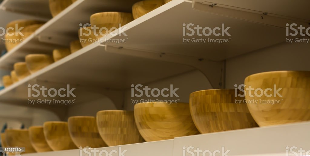 lot serving bowl, bamboo are on the shelf at the store stock photo