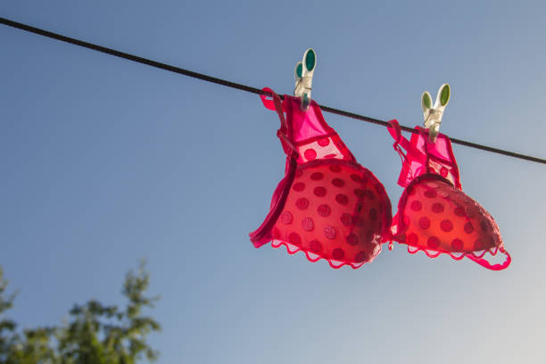 Ð¡lothesline with a pink bra Ð¡lothesline with a pink bra on the  blue sky background, horizontal bra stock pictures, royalty-free photos & images