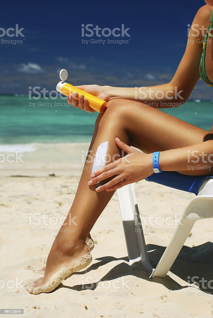 Lotion apply royalty-free stock photo