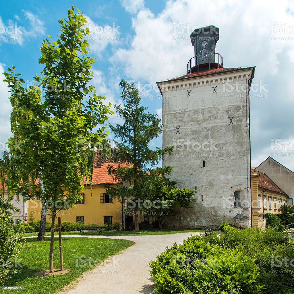 Lotrscak tower on Upper town in Zagreb, Croatia stock photo