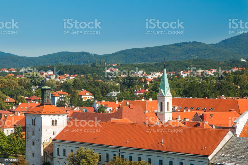 Lotrscak tower, upper town in Zagreb, capital of Croatia stock photo