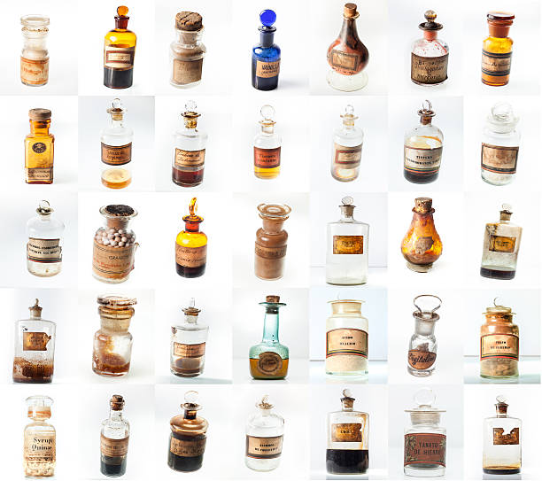 Lots of aphotecary's vintage bottles stock photo