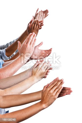 istock Lots of appreciation: many hands applaud on white 155133245
