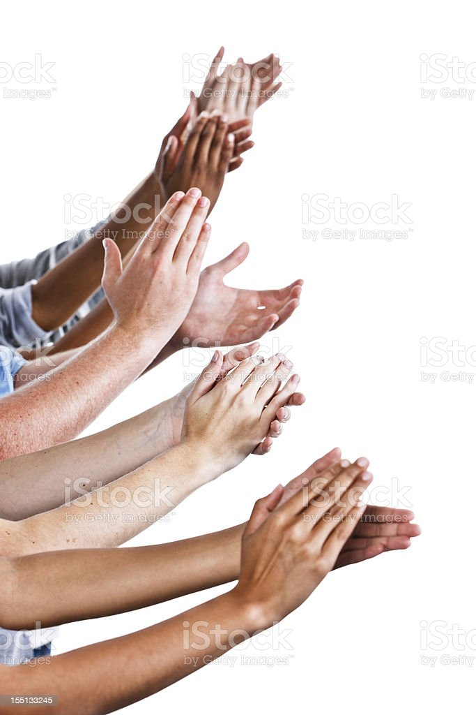 Lots of appreciation: many hands applaud on white stock photo