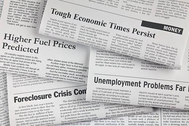 Lots of Bad News A group of newspaper headlines (all fake) about tough economic timesClick on the banner below to see more photos like this. article stock pictures, royalty-free photos & images