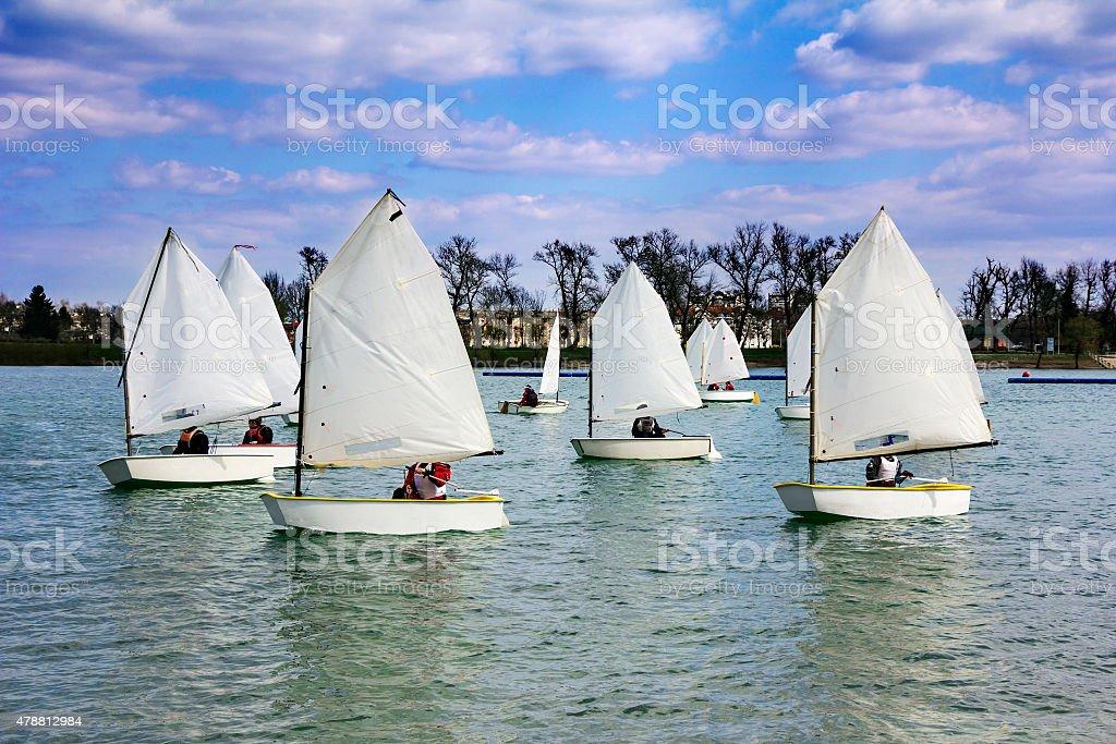 Lots of boats sailing stock photo