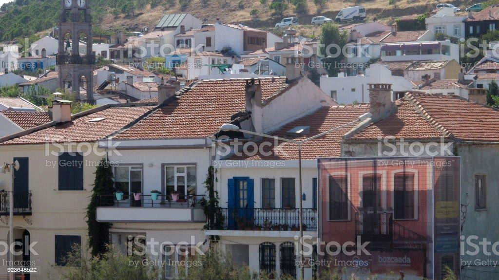 Lots of Building in no Order Crooked Urbanization in Bozcaada Canakkale Turkey stock photo