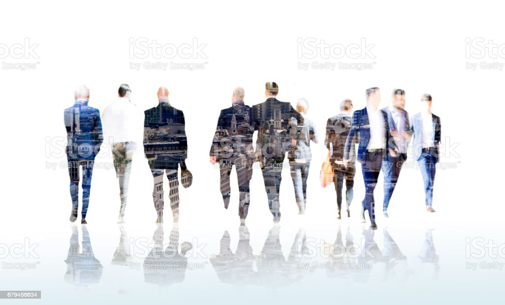 Lots of business people walking in the City. London royalty-free stock photo