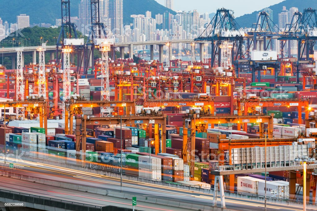 Lot's of cargo freight containers in the Hong Kong stock photo