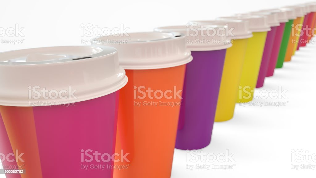 Lots of colorful coffee to go mugs - 3D Rendering zbiór zdjęć royalty-free