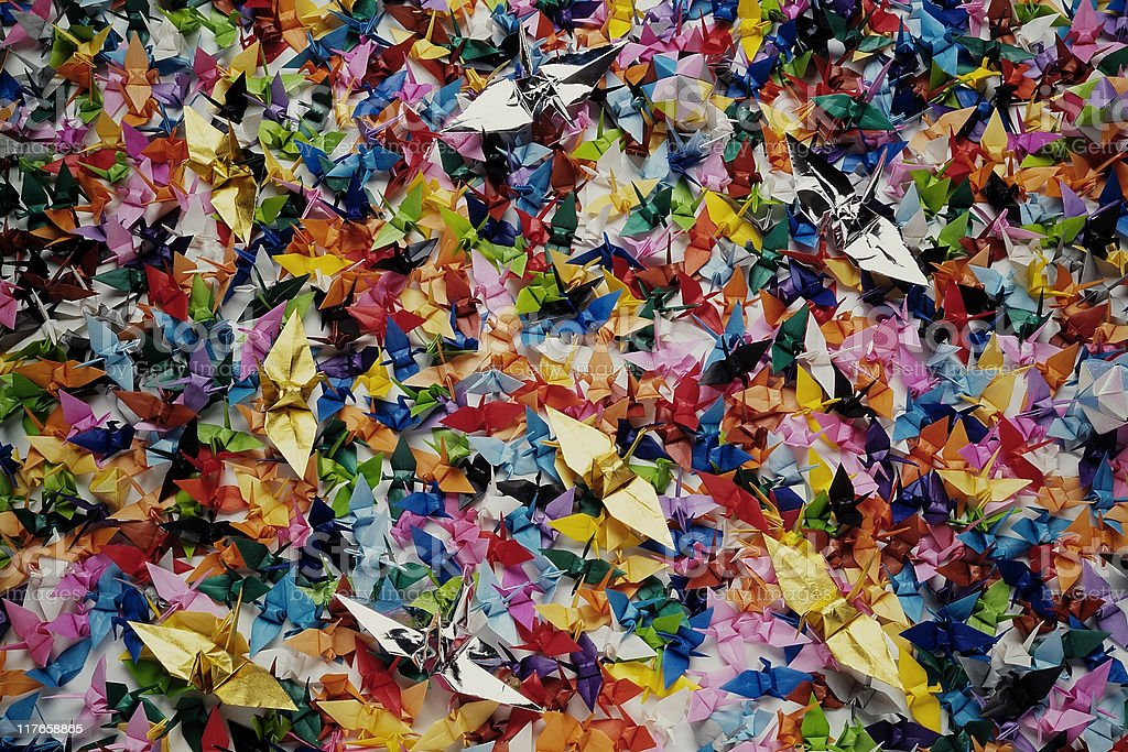 Lots of colorful Origami Common crane texture background royalty-free stock photo