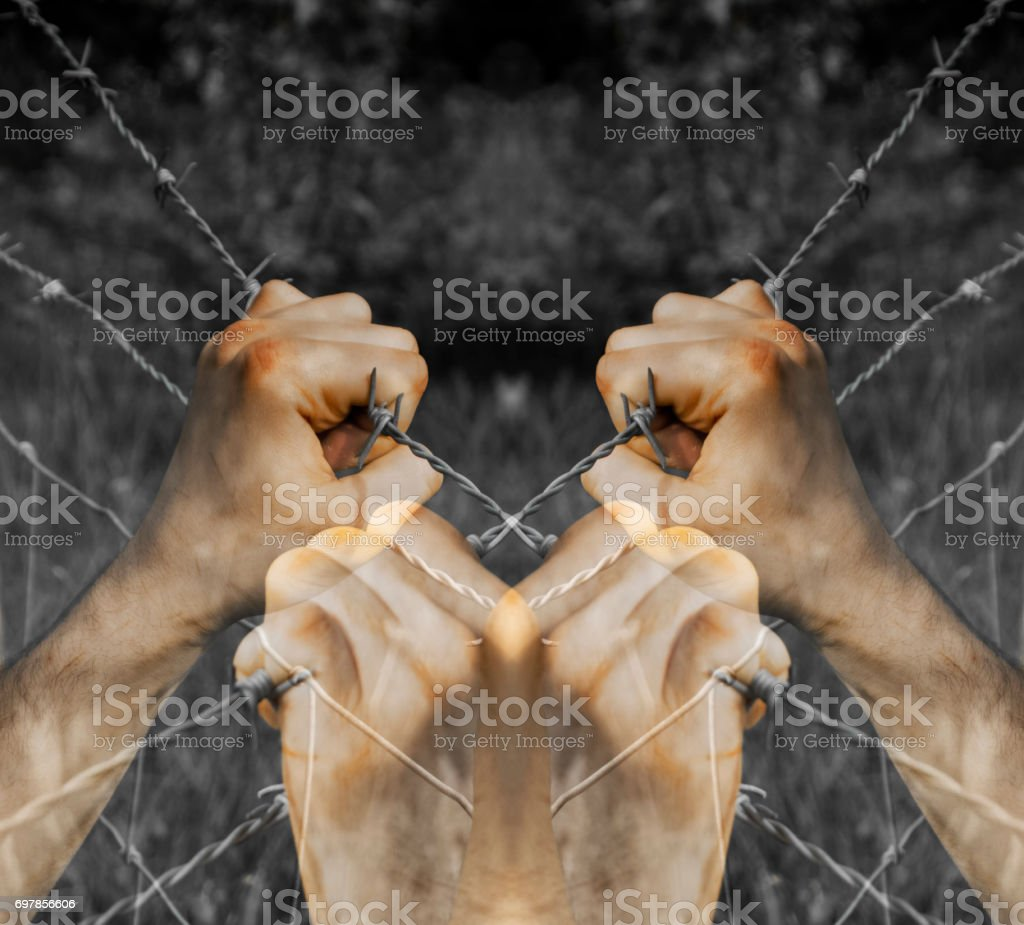 Lots of coloured tortured hands grasping desperately barbed wire on black and white background stock photo