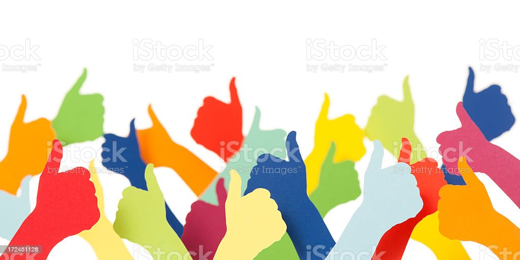 Lots of colourful thumbs up royalty-free stock photo