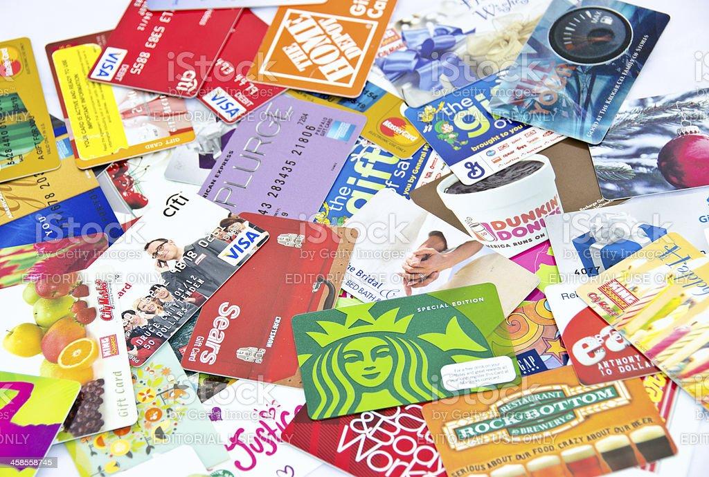 Lotes de tarjetas de crédito y de regalos - foto de stock