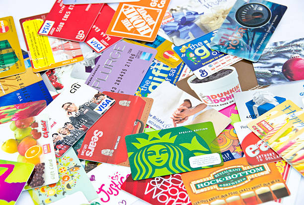 Lots of Credit and gift cards stock photo