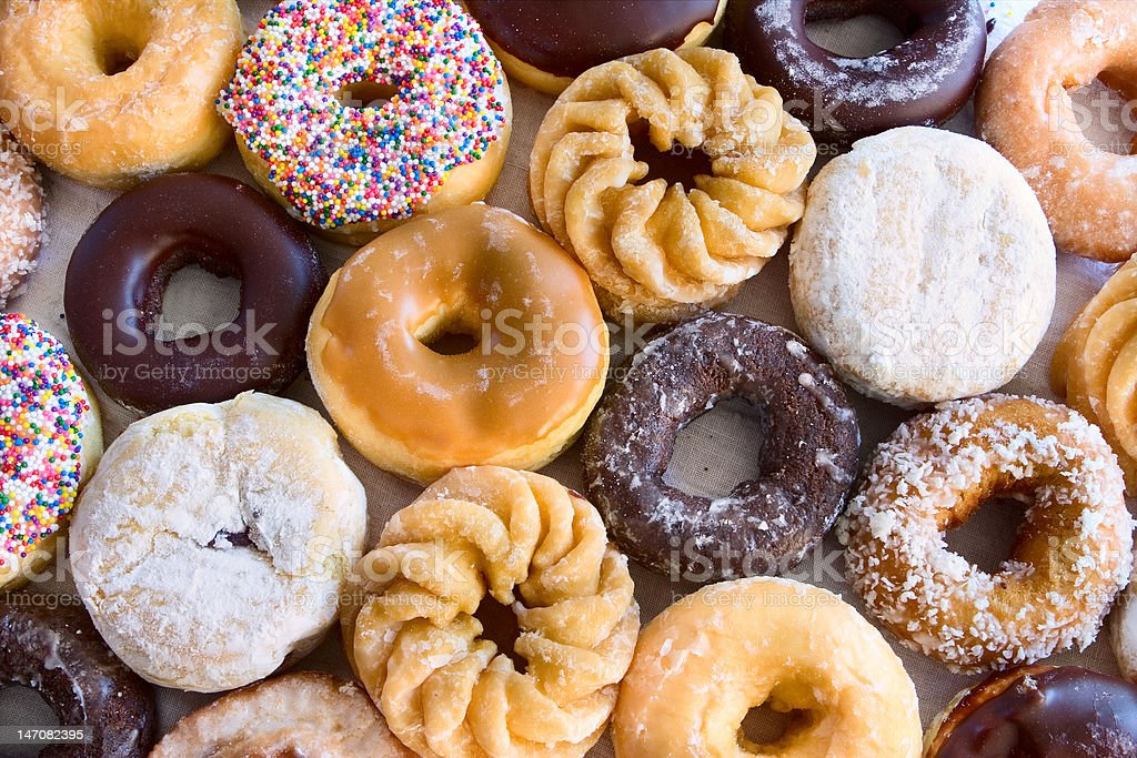 lots of donuts - from above royalty-free stock photo