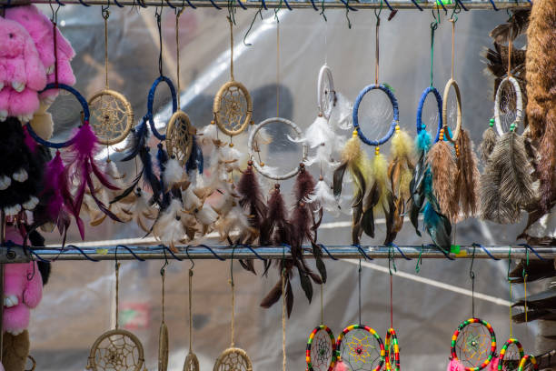 Lots of dreamcatchers on a pole stock photo