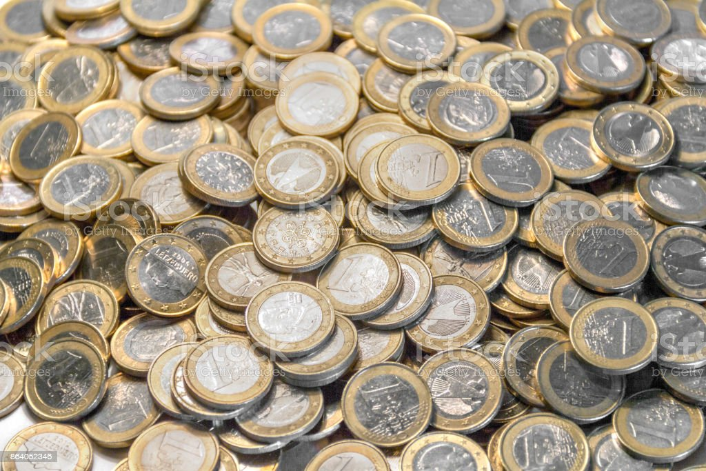 lots of euro coins stock photo
