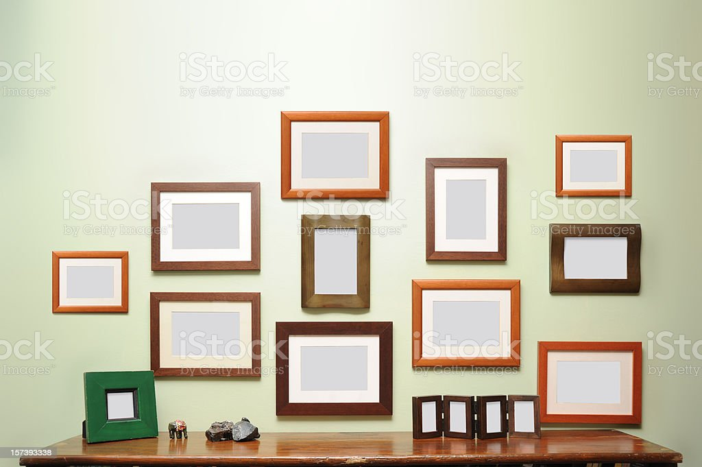 lots of frames on the wall stock photo