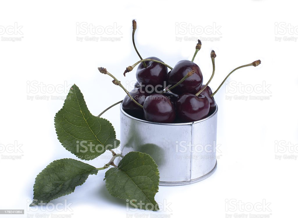 Lots of fresh and juicy cherries on old table royalty-free stock photo