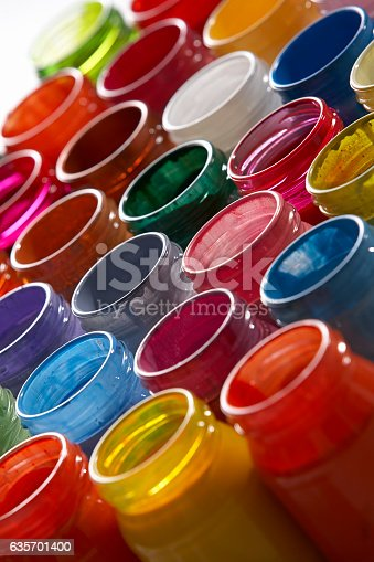 Lots Of Glass Paint Pots Stock Photo & More Pictures of Artist's Palette