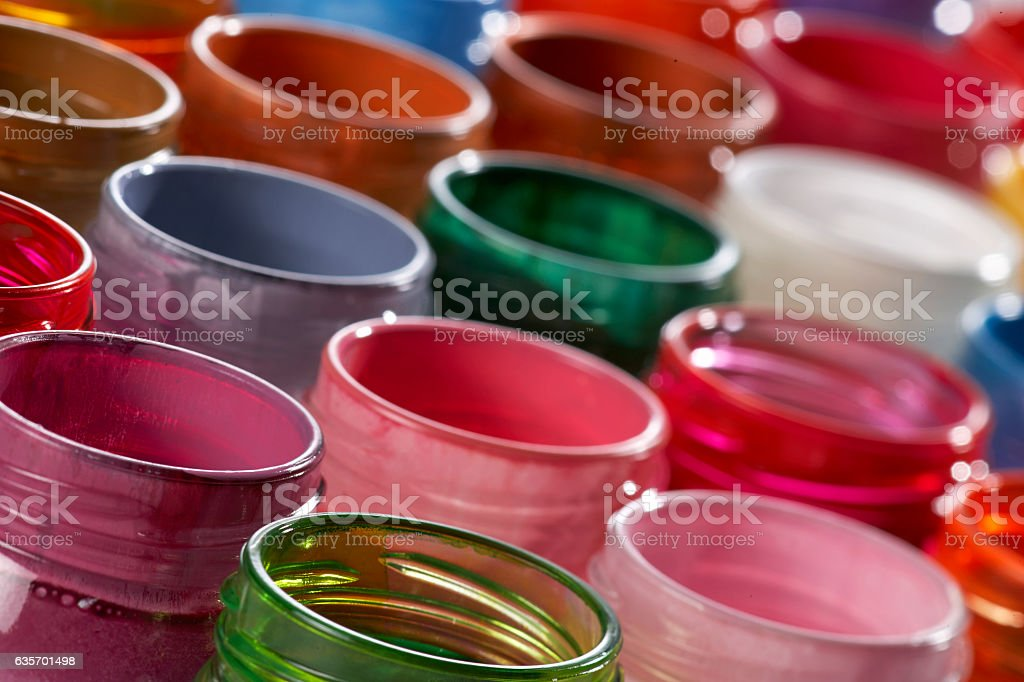lots of glass paint pots(selective focus) royalty-free stock photo