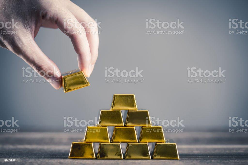 Lots of gold bullion stock photo